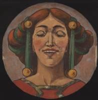 Art nouveau female head, round