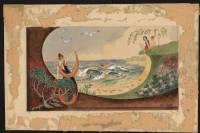 Seashore mural design, Art Nouveau (Signed)